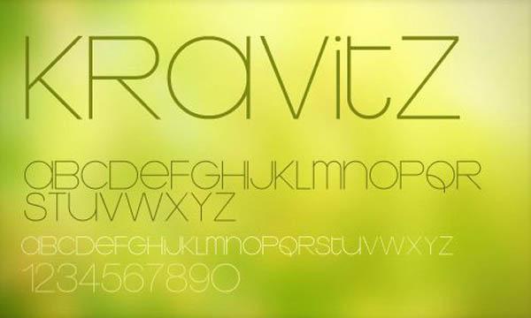 设计师常用的纤细舒展英文字体KRDVITZ