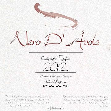 双重划线淡雅书法英文手写设计字体下载 - Nero D'Avola