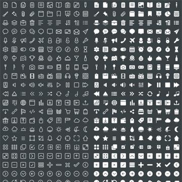 400个精致的带选中效果的描边矢量图标(EPS、Sketch、PSD3种格式)