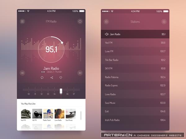 FM Radio UI - iOS 7 App  PSD源文件下载