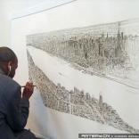 孤独症艺术家凭着记忆画曼哈顿